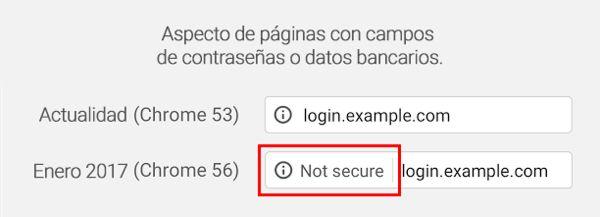 Ejemplo de cómo el navegador mostrará la información de una web no segura en Google Chrome